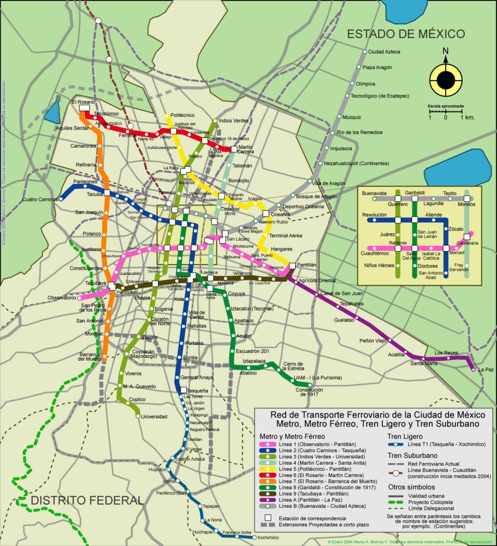 Mapa de Ciudad de México, Plano y callejero de Ciudad de México ...