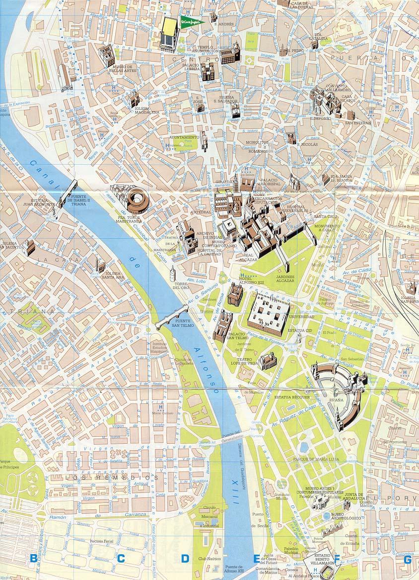 Mapa De Sevilla Capital Callejero.Mapa De Sevilla Plano Y Callejero De Sevilla 101viajes