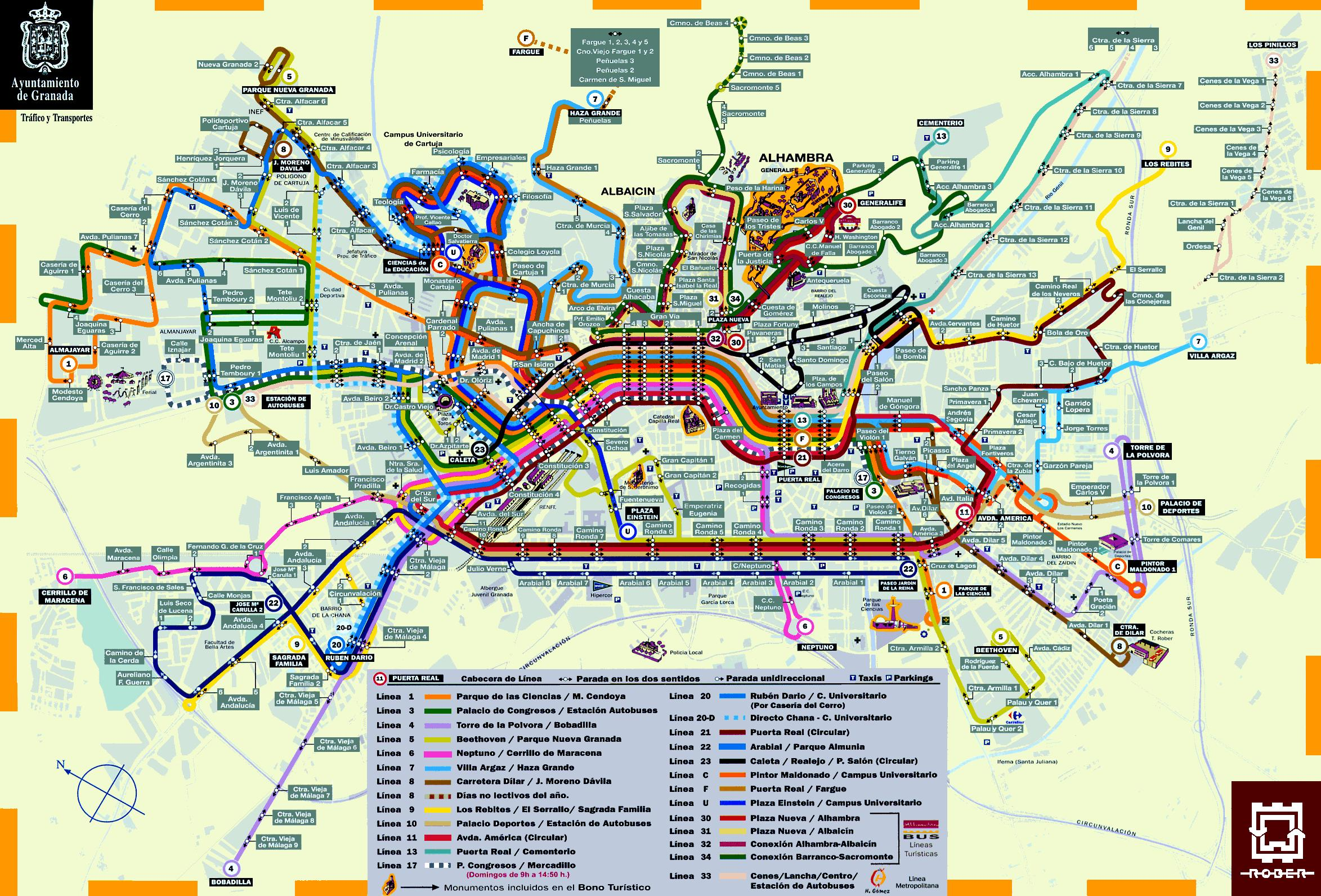 Callejero Mapa De Granada Capital.Mapa De Granada Plano Y Callejero De Granada 101viajes