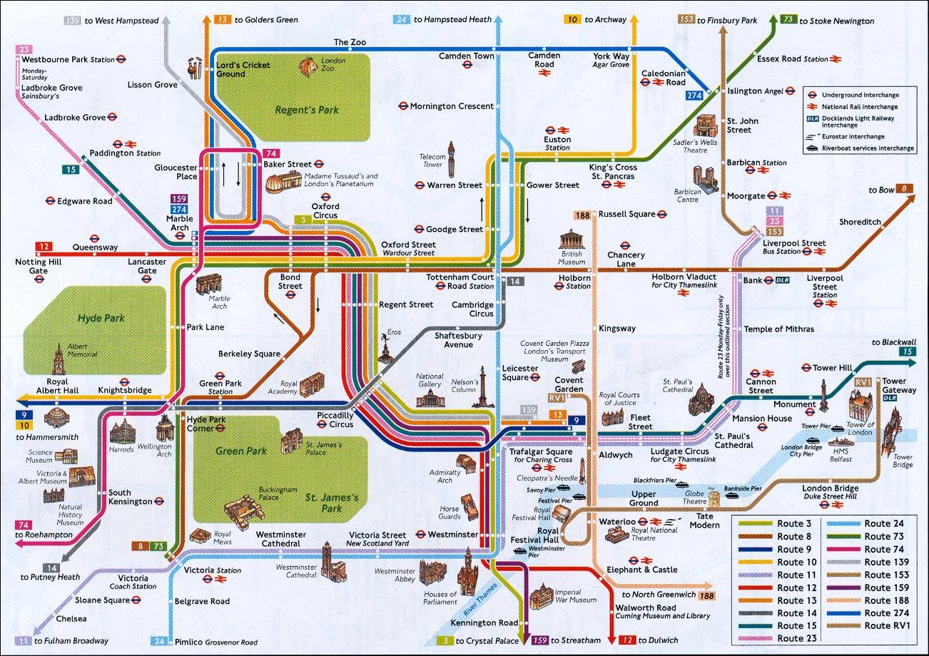 Mapa De Las Lineas De Metro De Londres Con Zonas